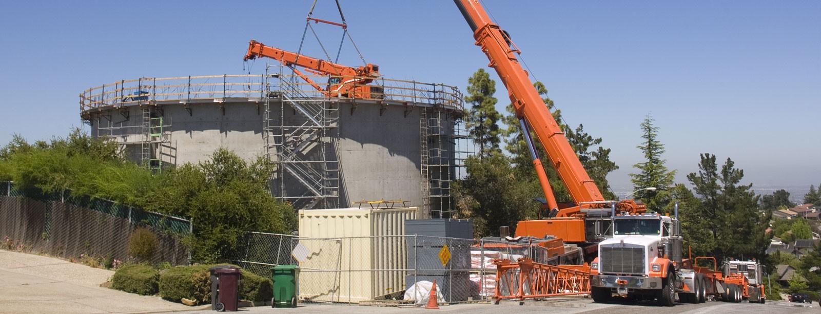 a crane lifting material